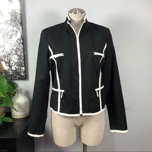 Michael Kors black & white zip blazer jacket Sz 10